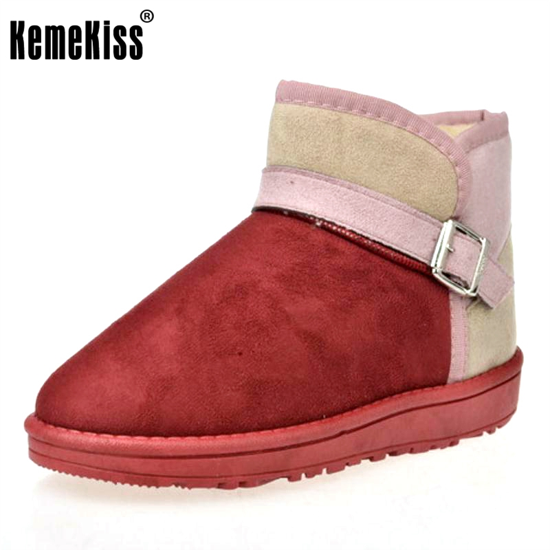 KemeKiss Sweety Ladies Winter Snow Boots For Women Thick Fur Candy Color Ankle Botas Female Agrafe Flat Shoes Women Size36-40 2016 rhinestone sheepskin women snow boots with fur flat platform ankle winter boots ladies australia boots bottine femme botas
