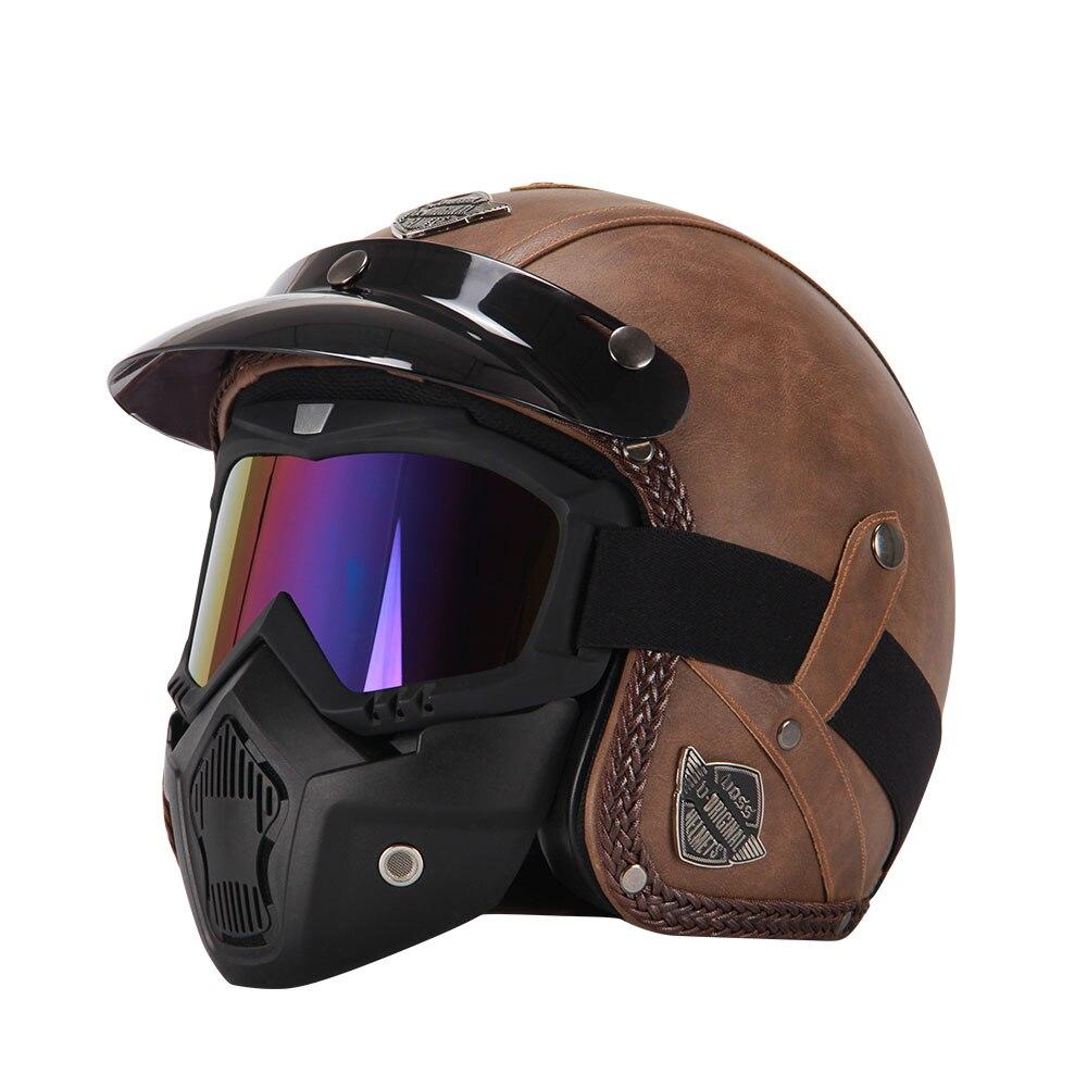 Новый Ретро Винтаж Пособия по немецкому языку Стиль мотоциклетный шлем 3/4 открытым лицом шлем Four Seasons Cruiser Байкер Мото шлем с очками маска