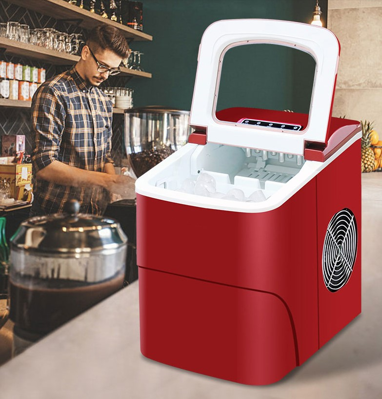 15KG Commercial/Household Ice Maker Milk Tea Shop/Cafe/Cold Drink Shop Ice Cube Machine Stainless Steel Ice Machine