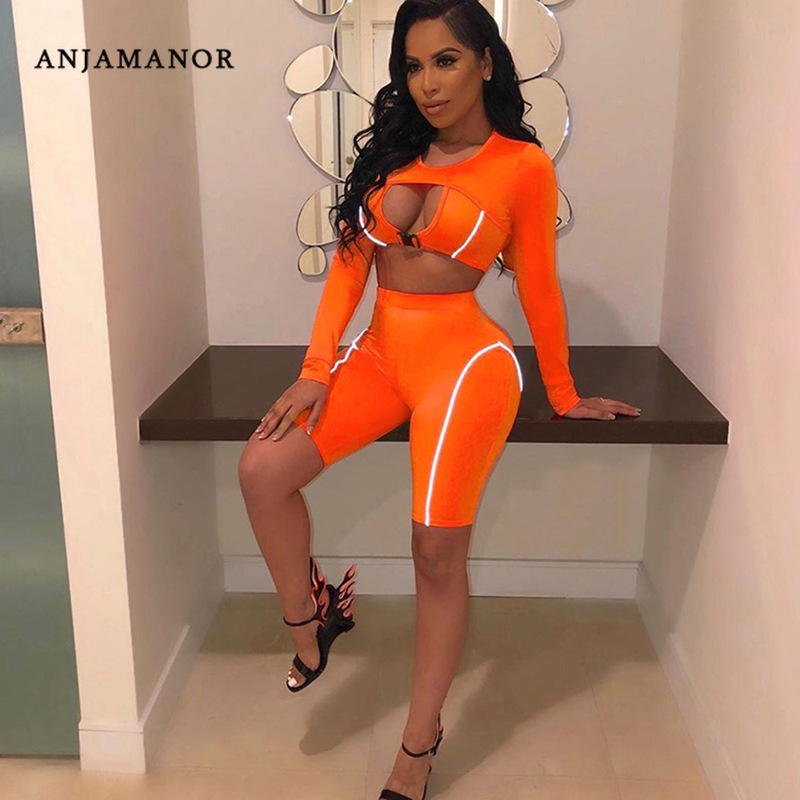 ANJAMANOR Sexy Hollow Reflective Striped 2 Piece Set Women Long Sleeve Crop Top And Biker Shorts Sports Matching Sets D87-AD66
