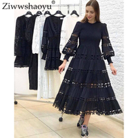 Ziwwshaoyu Elegant Floral cotton dresses Hollow Out Lantern Sleeve O Neck temperament Simplee dress Spring and summer new women