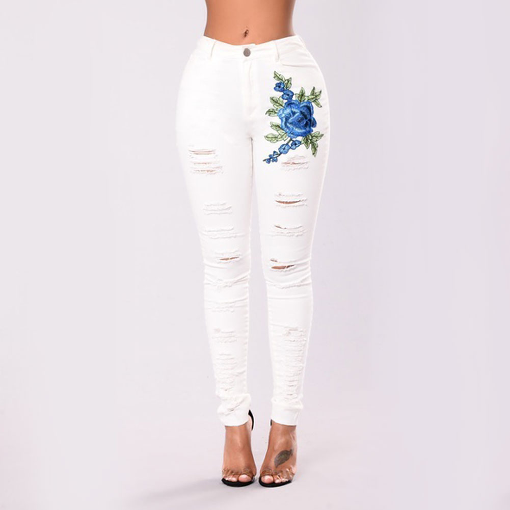 Women White Hole Ripped Jeans Jeggings Casual Cool Denim Embroidery Pants Pencil Pants Capris Female Sexy Skinny Jeans