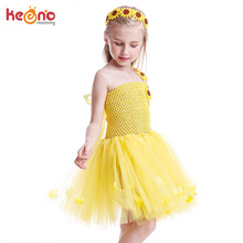 Yellow Petals Flower Girls Tutu Dress Handmade Kids Princess Party Dress with Sunflower Headband Children Birthday Photo Costume new girls yellow princess tutu dress kids crochet flower tail dress ball gown with headband children wedding cosplay party dress