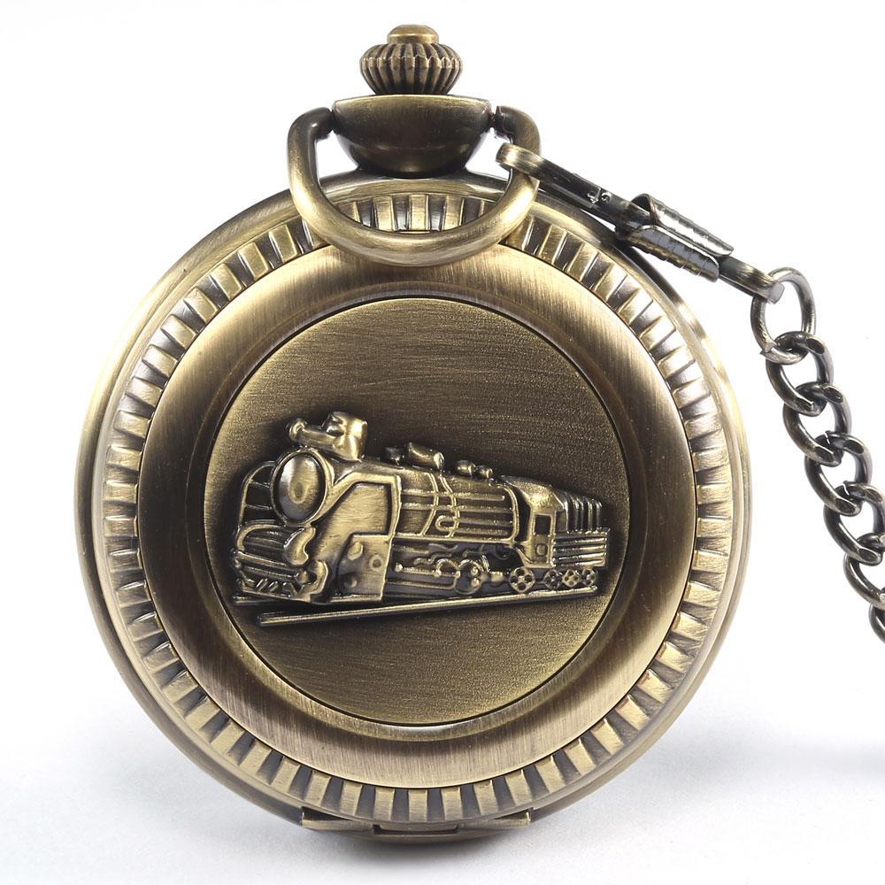 2016 Vintage Train Pattern Quartz Men Bronze Pocket W