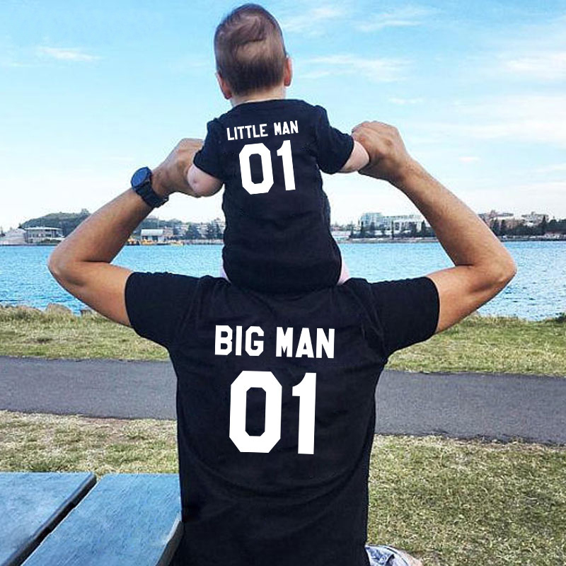 Family Matching Clothes Fashion Big Litter Man Tshirt Daddy And Me Outfits Father Son Dad Baby Boy Kids Summer Clothing(China)