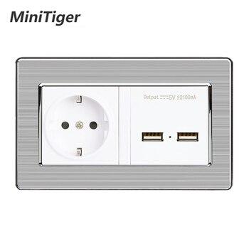 Minitiger toma de corriente de pared estándar UE con puerto de carga de inducción inteligente USB Dual para Panel móvil de acero inoxidable de 5V 2.1A