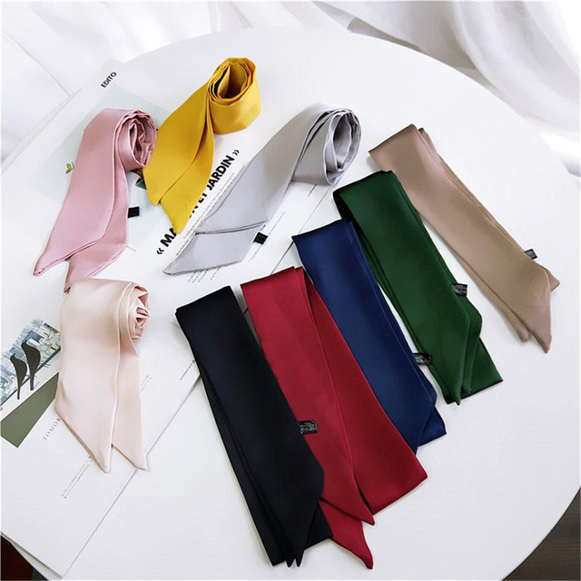 Women Elegant 90*5cm Small Silk Feel Satin Scarf Neckerchief Head-Neck Tie Band Hair Rope Bag Tie Wristband Wrap Popular Sale
