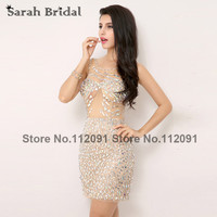 Sexy Cut Out Back Cocktail Dresses With Luxury Crystal See Through Cocktail Party Dresses Sleeveless Vestidos