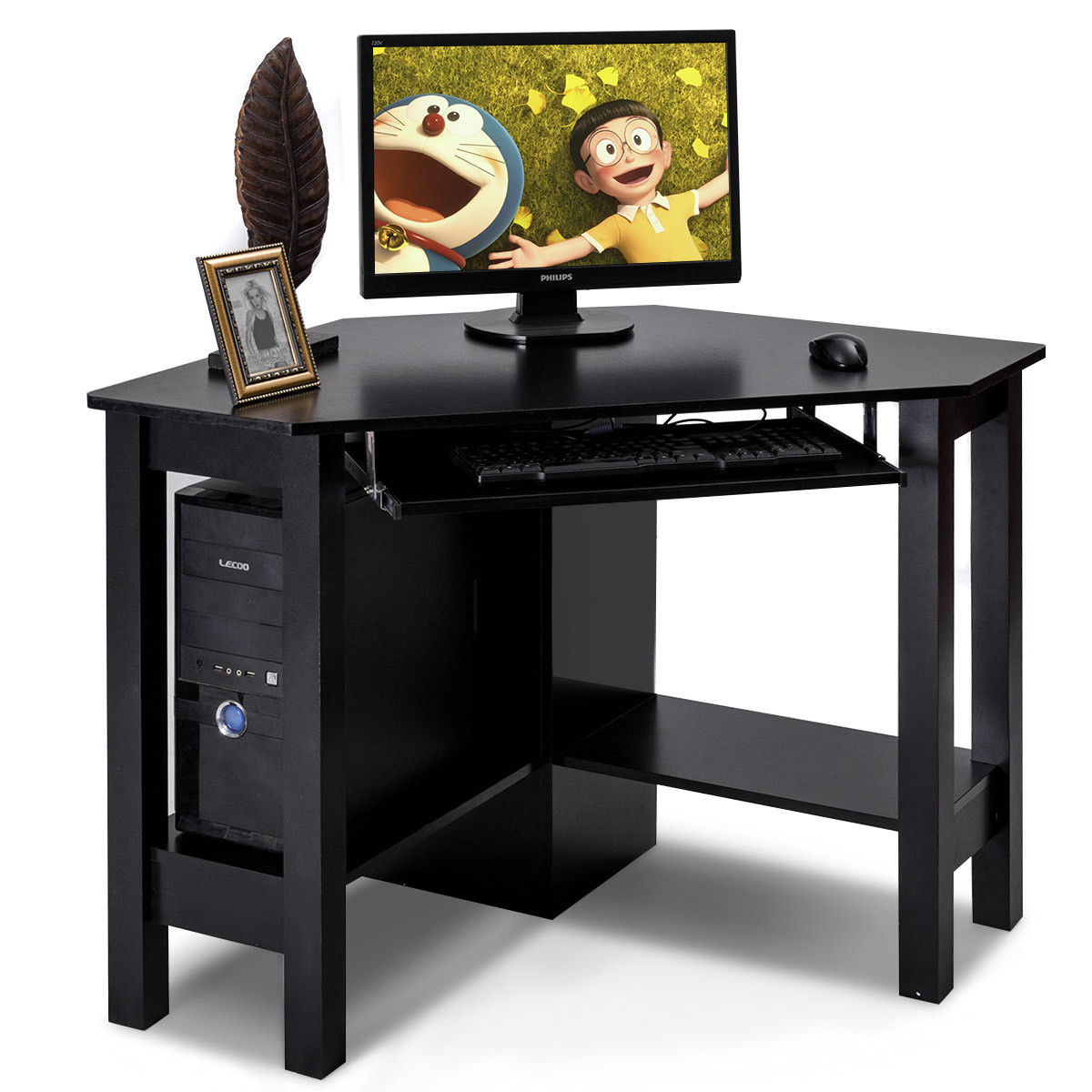 Giantex Wooden Corner Desk With Drawer Modern Office Computer Pc Table Black Study Home Furniture Hw54812bk