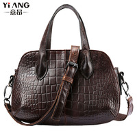 Ladies Fashion Vintage Genuine Leather First Layer Cowhide Handbag Messenger Shoulder Pack Cross Body Trend Bag