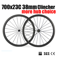 Catazer Racer Road Bicycle Accessories 700x23C 38mm Clincher Wheelset Full Carbon Wheels With Basalt Brake Surface