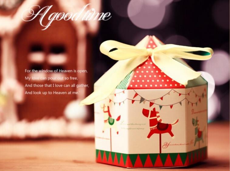 ჱctrue pcs merry go round candy box cookie boxes with ribbon