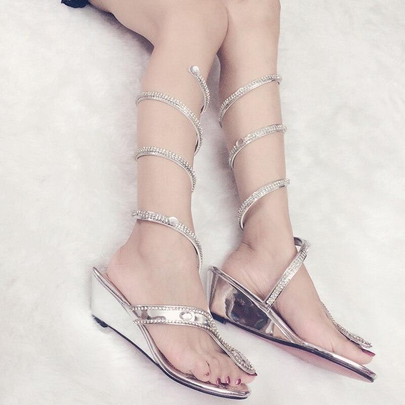 Femmes chaussures d'été Wedge tongs sandales serpent sangle Clip bout ouvert cristal femmes gladiateur sandales Sexy dames chaussures de fête