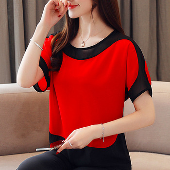 Womens tops and blouses fashion 2019 chiffon blouse plus size ladies tops shirts Solid Short O-Neck Batwing Sleeve 3397 50 4
