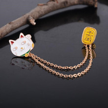 Delicate Alloy Lucky Cat Gold Plate Collar Brooches Pin Badge Girls Clothing Hat Scarf High Quality
