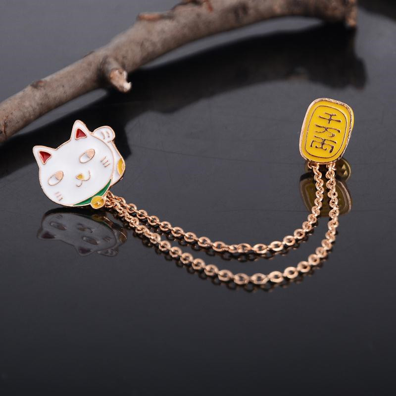 Delicate Alloy Lucky Cat Gold Plate Collar Brooches Pin Badge Girls Clothing font b Hat b