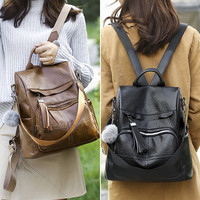 Japan and Korean Style Women Backpack Soft Leather Anti theft Large Capacity Leisure Travel Bag Interior Zipper Pocket