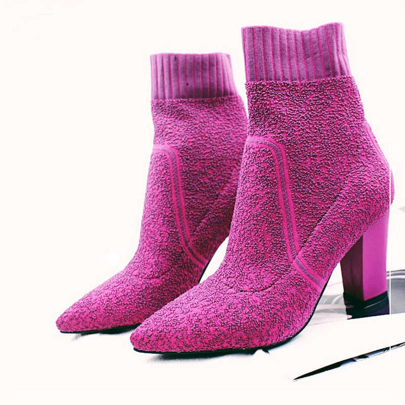 JAWAKYE tasarımcı Yün Örme Patik feminina yüksek topuklu yarım çizmeler kadınlar için gül haki elastik bahar Güz seksi çorap ayakkabı