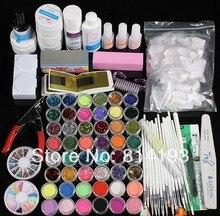 Professional Acrylic UV Gel Glue Top Coat Nail Art Pen Brush Glitter Cleanser Primer Clipper Tool Set