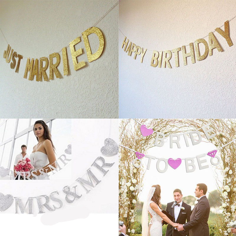 Hanging Ornaments Romantic Ornaments Glittering Letters Heart-Shaped Garlands  Wedding Party Supplies