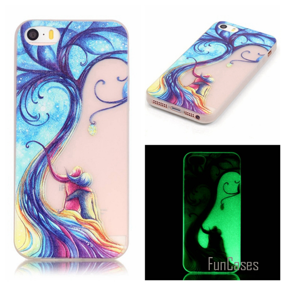 New Fashion Luminous night Slim phone Cases for Apple iphone 5 5S 5G Fluorescence Soft TPU Silicon Gel back cover skin