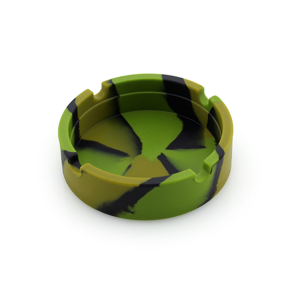 Camouflage Eco Friendly Silicone Ashtray Soft Unbreakable Heat Resistant Round Ash Holder Cigarette Ash Tray for Indoor Outdoor