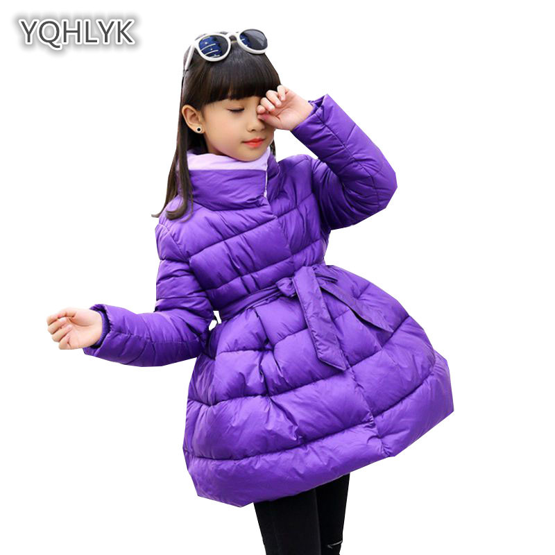 Children Winter Girl Cotton coat Fashion Stand Collar Warm Girl Down Jacket Long Thicken Kids Cotton Outerwear & Coats LK056 2 225