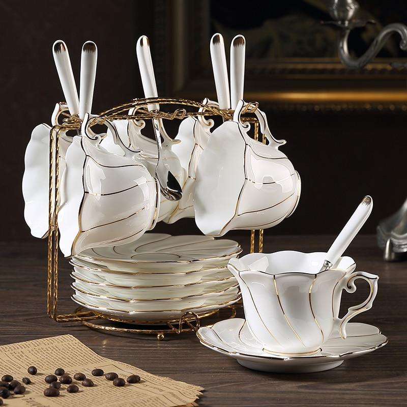 Altın Kakma Kemik Çini Kahve Fincan Tabak Kaşık Tutucu Set Avrupa - Mutfak, Yemek ve Bar