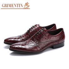 Grimentin Luxury Men Casual Shoes Genuine Leather Flats Black & Red Lace Up Dress