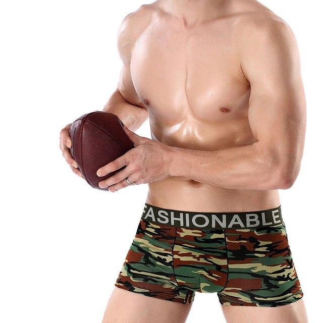 6d8f9aca69 Hommes sous-vêtements masculins short de boxe Camouflage Coton Confortable  sexy Style mens slip cueca