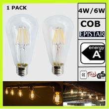 2 YEAR WARRANTY 4W or 6W LED vintage lamps led edison bulbs ST64 ST18 120V 220V 230V 240V clear glass WARM WHITE