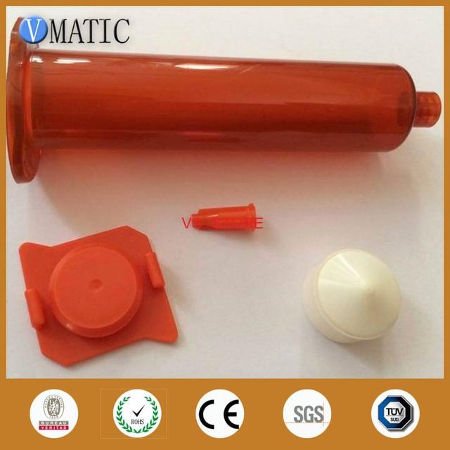 Free Shipping Us Type Glue Dispensing UV Pneumatic Syringe Barrel 10cc/ml Amber Syringe Barrel With Piston & End Cover & Stopper