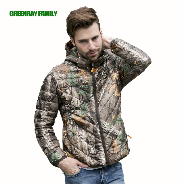 889e2803d2a4 Winter Camouflage Bionic Tree Print Men Hooded Jacket S-3XL White Duck Down  Coat Thin Ultra-Light Warm Packable Parka Outerwear