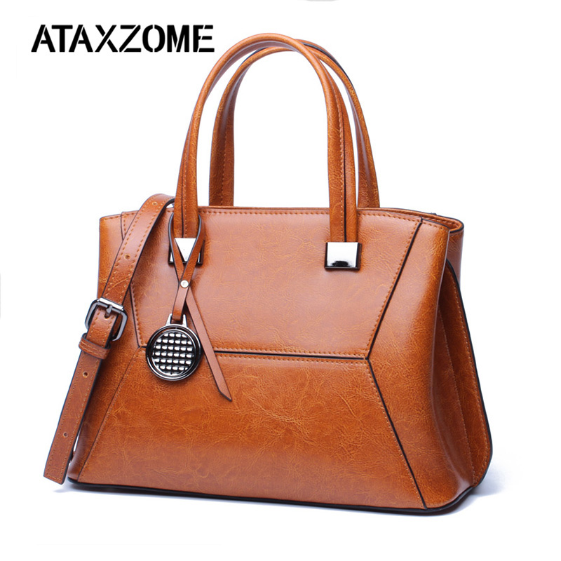 Luxury Genuine Leather bags for women crossbody Handbag 2018 Real Cowhide oil wax tote bags for