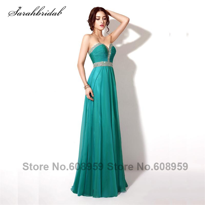 In Stock Long Chiffon Beaded   Prom     Dresses   Crystals Sweetheart Evening   Prom   Gown Special Occasion   Dresses   Real Picture TZ002