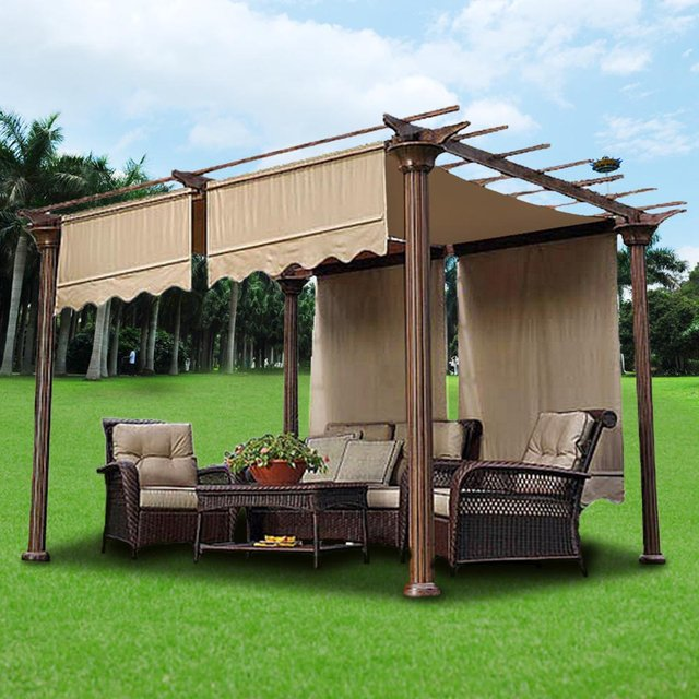 4.72x1.2m Sun Shade Canopy Outdoor Camping Cover Green/Beige Garden Patio  Shelter