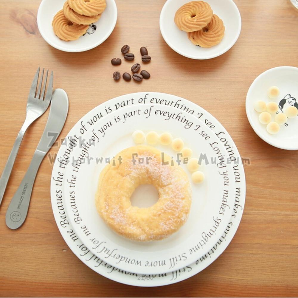 ᗑ1Pcs KEYAMA beautifully cute English ceramic white breakfast ...