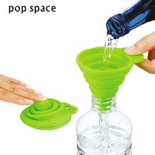 pop space High Quality Protable Mini Silicone Gel Foldable Style Funnel Hopper Kitchen Cooking Tools Accessories Gadget