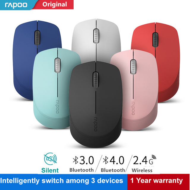 New Rapoo Silent Wireless Optical Mouse with Bluetooth 3.0/4.0 RF 2.4G Mute Mini Noiseless Mice for Windows PC Laptop Computer 1