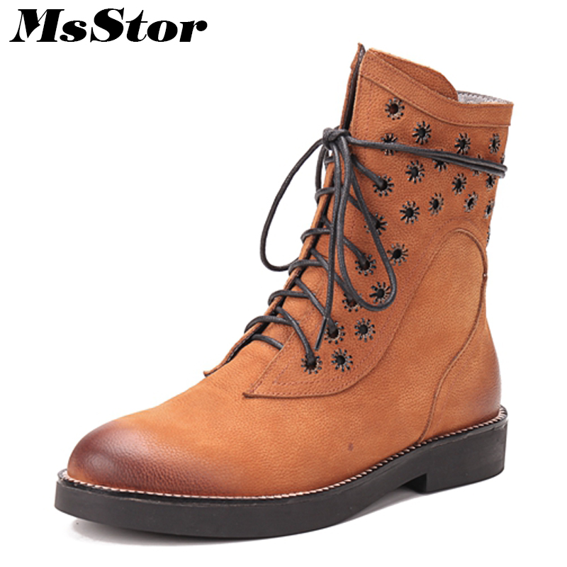 MsStor Women Genuine Leather Low Heel Boots Fashion Metal Zipper Cross Tied Ankle Boots Women Shoes Martin Boots Shoes Woman