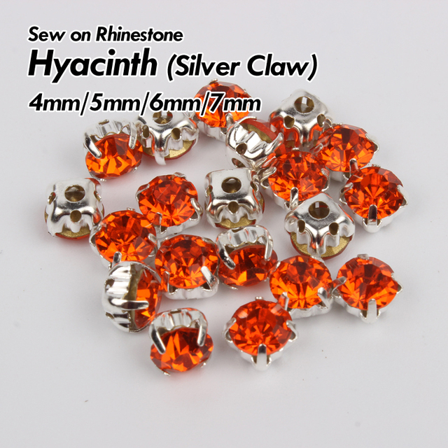 Hyacinth Rhinestone 4mm 5mm 6mm 7mm with Silver Sew on Claw stones ... 6210706f1534
