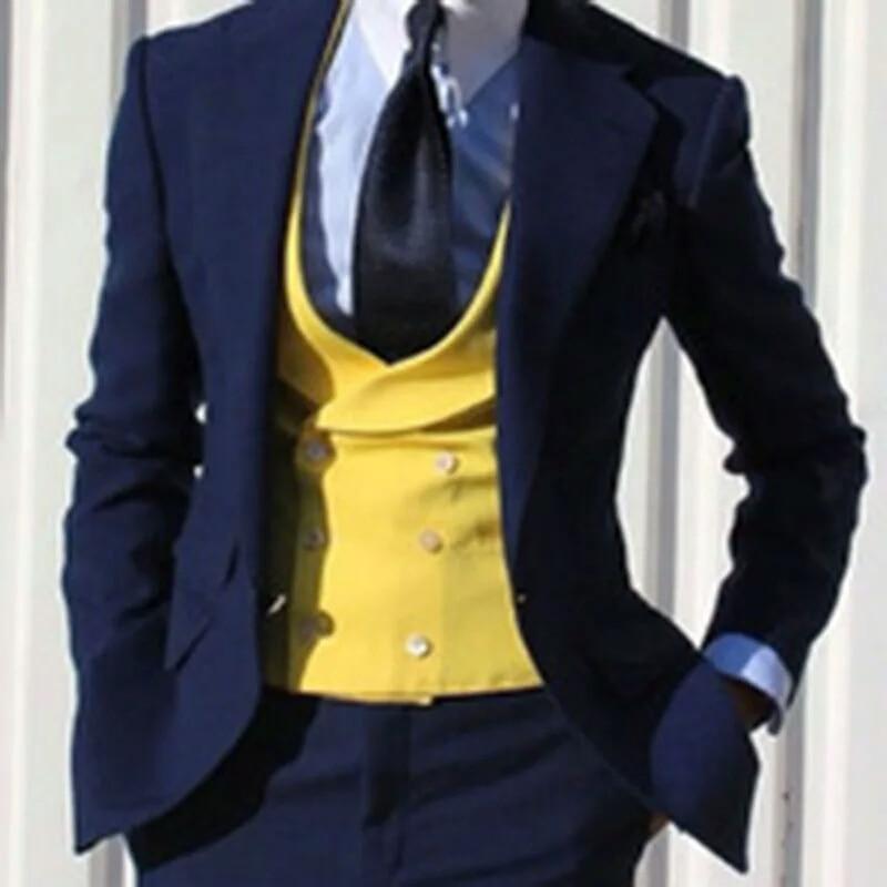 남자 정장 슬림 맞는 3 조각 세트 노란색 조끼 패션 맞춤형 고품질 신랑 복장 공식 비즈니스 정장-에서정장부터 남성 의류 의  그룹 1