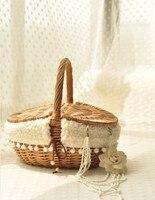 Principessa del merletto di vimini cestino da picnic cestino portatile cestino di immagazzinaggio cestino zakka Giapponese dolce