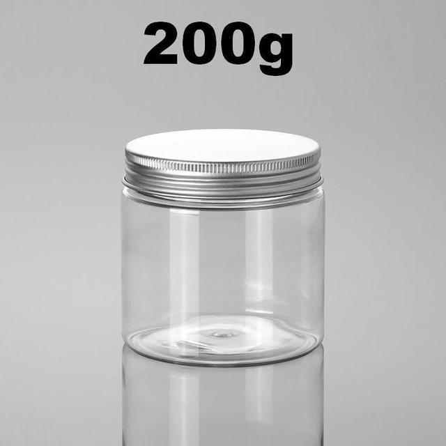 100pcs plastic cosmetic jar 200g empty container with inner cover and aluminum cap cream hairdressing loose powder container