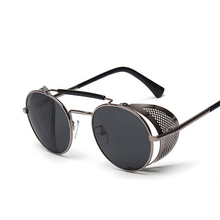 2018 Retro Steampunk Sunglasses Round Designer Steam Punk Metal Shields