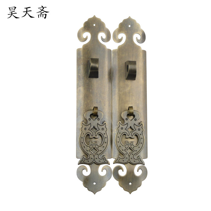[Haotian vegetarian] copper handle antique Chinese cabinet door handle cabinet door handle Classical handle 18cm antique european furniture handles cabinet handle door drawer circular copper