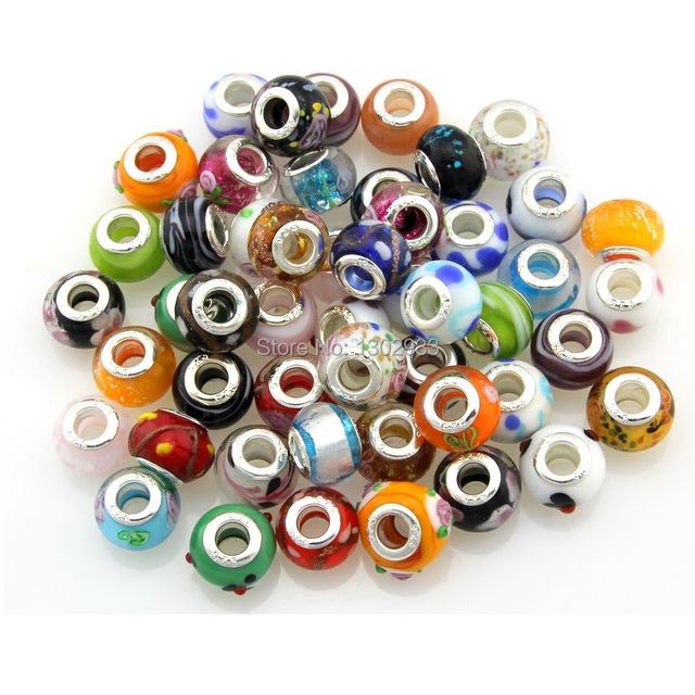 wholesale 50pcs lot mixed murano glass lampwork beads big hole silver core for european charm