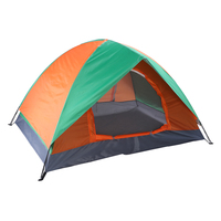 Tent for Camping Backpacking Hiking 2 Person Double Door Dome Camping Tent Instant Pop Up Cabin Tent Orange & Green US Stock