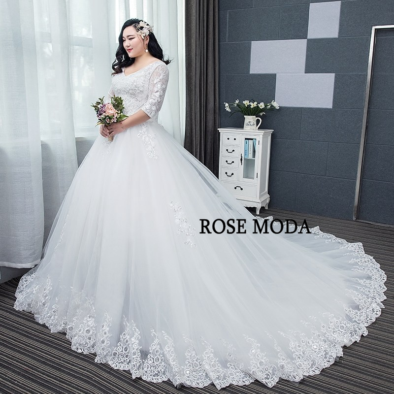 Lace Wedding Dress With Sleeves.Us 269 0 Rose Moda Long Sleeves Plus Size Wedding Dress 2019 Long Train Princess Lace Wedding Ball Gown Custom Make In Wedding Dresses From Weddings