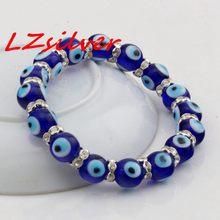 Лидер продаж! 1 шт bling jewelry eye beads 10 мм синий стрейчевый